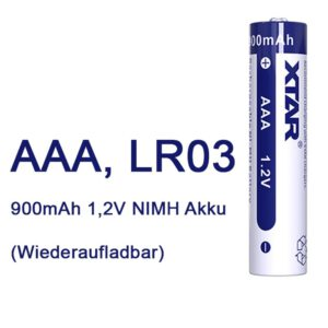 XTAR AAA R03 NIMH Akku 900mAh 1,2V (Wiederaufladbar) A